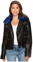Members Only Blue Fur Rocker Jacket Women's Coat