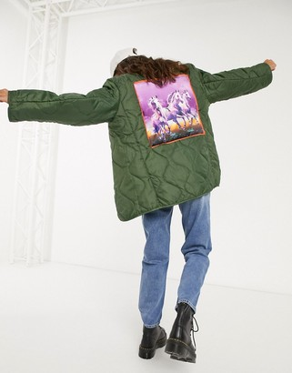 Vintage Supply relaxed quilted liner jacket with horse back patch