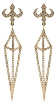 House Of Waris Lantern 18kt Yellow Gold Drop Earrings With White Diamonds