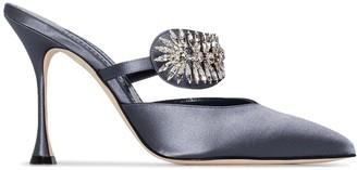 Manolo Blahnik Skyroj 105mm crystal-embellished satin mules