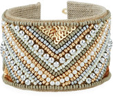 Nakamol Wide Beaded Chevron Cuff Bracelet