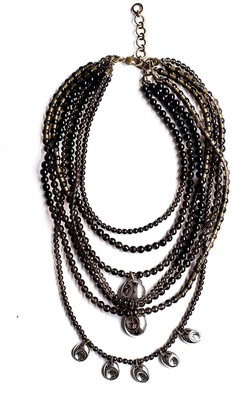 Michelle Ross Sommer Smoke Necklace Smoky Quartz, Onyx & Silver