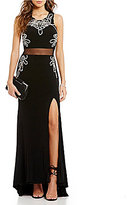 Jodi Kristopher Bead Trimmed Illusion-Waist Long Dress