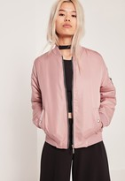 Missguided Petite Soft Touch Bomber Jacket Pink