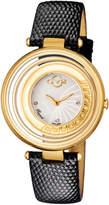 Gv2 Swiss Quartz Vittorio Black Diamond Leather Strap Watch