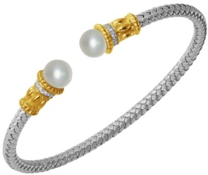 PRIME ART & JEWEL Freshwater Pearl (7.5-8mm) and Cubic Zirconia Braided Cuff in Sterling Silver