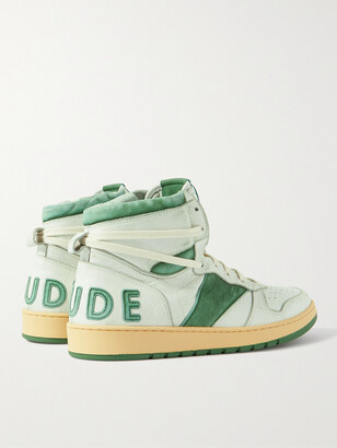 Rhude Rhecess Distressed Leather High-Top Sneakers