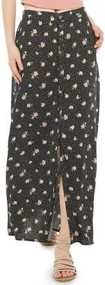 Juniors' Rewind Button Front Maxi Skirt