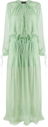 Amiri Pale Green Chiffon Crinkle Maxi Dress