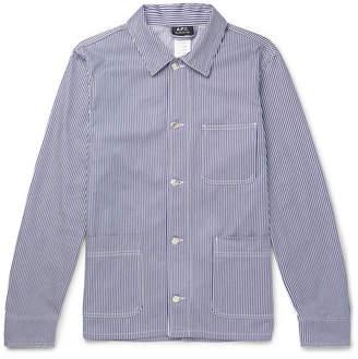 A.P.C. Striped Cotton-Twill Shirt Jacket