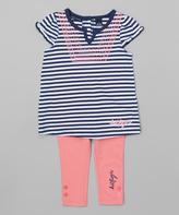 Tommy Hilfiger Navy & Coral Stripe Tunic & Leggings - Infant & Kids