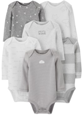 Carter's Baby Boys or Girls 6-Pack Printed Long-Sleeve Cotton Bodysuits