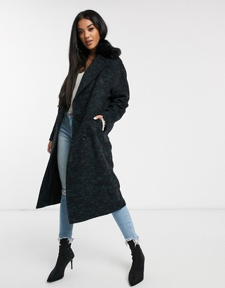Helene Berman double breasted oversized coat with faux fur collar