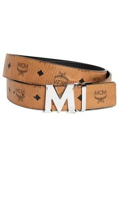 MCM Silver M Buckle Reversible Belt