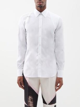 Alexander McQueen Pique-panelled Cotton-blend Poplin Harness Shirt - White