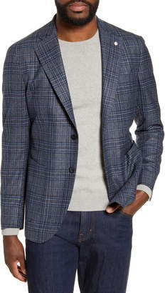 Lubiam Trim Fit Plaid Silk & Wool Sport Coat
