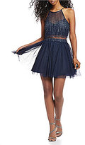 Teeze Me Glitter Dot Pop-Over Fit-And-Flare Dress
