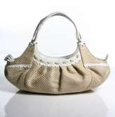 Cole Haan Beige White Woven Straw Leather Large Satchel Handbag