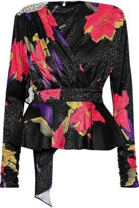 Dodo Bar Or Grace Embellished Draped Satin-jacquard Peplum Blouse