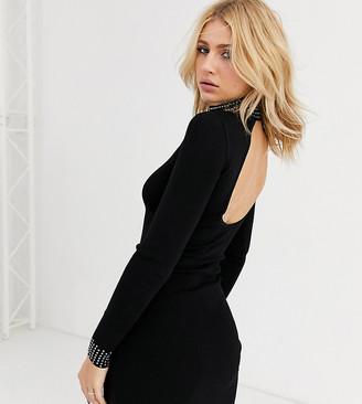 Bershka studded neck long sleeve mini dress in black