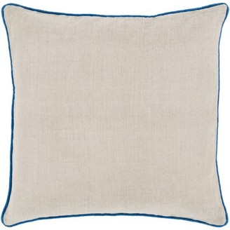 "Hughesdale Solid Border Linen Pillow Cover Gracie Oaks Size: 18"" x 18"", Color: Dark Purple"