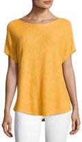 Eileen Fisher Short-Sleeve Boat-Neck Linen/Cotton Box Top