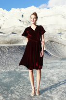 Shabby Apple Esme Velvet Wrap Dress Burgandy