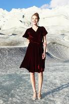 Shabby Apple Esme Velvet Wrap Dress Burgandy