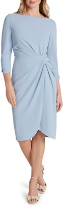 Tahari Twist Front Scuba Crepe Sheath Dress
