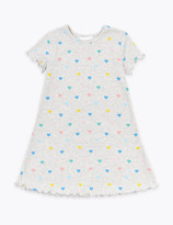 Marks and Spencer Ribbed Heart Print Dress (2-7 Years)