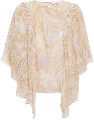See by Chloe Ruffled Printed Silk-voile Blouse