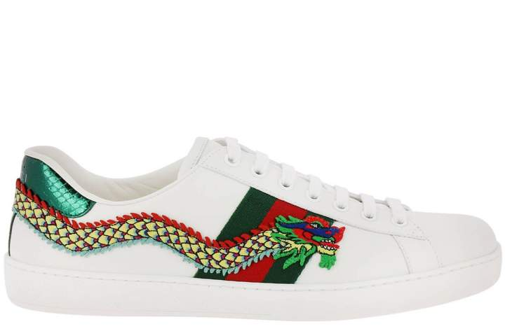 Gucci Sneakers New Ace Sneakers In Soft Genuine Leather With Web Bands And Dragon Patch
