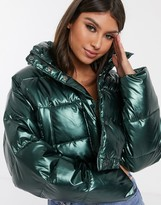 Asos Design DESIGN glam metallic crop puffer jacket