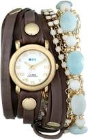 La Mer Women's LMMULTI7005 Stones Layered Wrap Collection Mushroom Layered Strap Watch