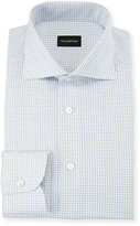 Ermenegildo Zegna Men's Graph Check Dress Shirt, Blue