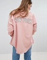 Missguided Slogan Back Oversized Denim Shirt