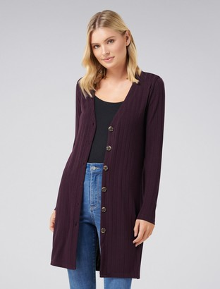 Forever New Marcela Button Through Rib Cardigan - Wine - xxs
