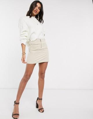 Vero Moda mini skirt with zip front in beige cord