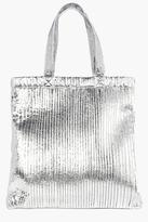 boohoo Aleena Plisse Effect Metallic Shopper Bag silver