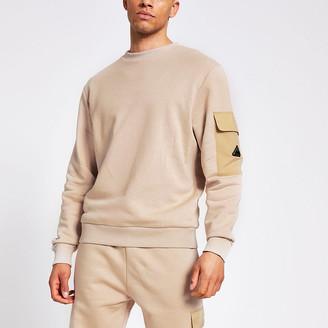 River Island MCMLX stone nylon block slim fit sweatshirt