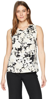 Kasper Women's Neutral Floral Scoop Neck Pleated ITY Tank