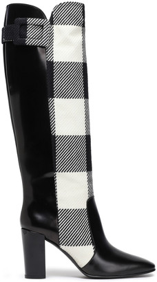 Roger Vivier Paneled Checked Jacquard And Leather Boots