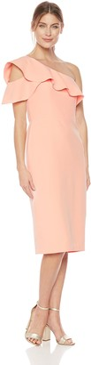 Maggy London Women's One Shoulder Dream Crepe Ruffle Dress