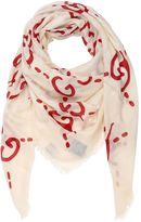 Gucci Ghost Gg Writers Fringed Scarf