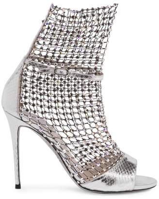 Rene Caovilla Galaxia Crystal Mesh Metallic Snakeskin Sandals