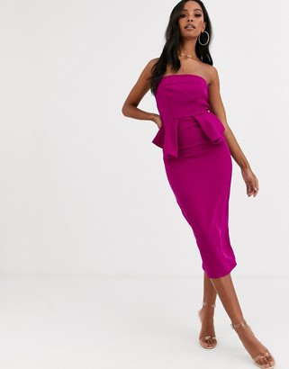 Lipsy strapless peplum detail midi bodycon dress