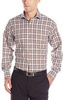 Thomas Dean Men's 1 Button Spread Collar Dobby Grid Check Shirt