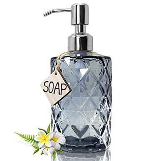 JASAI Diamond Design Glass Soap Dispenser with 304 Rust Proof Stainless Steel Soap Pump