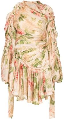 Zimmermann Floral Print Ruched Silk Dress