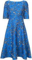 Lela Rose floral jacquard flared dress